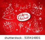christmas vintage line art... | Shutterstock .eps vector #535414801