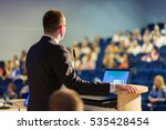 speaker giving a talk on... | Shutterstock . vector #535428454