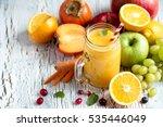 yellow smoothie  healthy juicy... | Shutterstock . vector #535446049