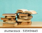 open book  stack of hardback... | Shutterstock . vector #535454665