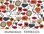 seamless pattern with love... | Shutterstock .eps vector #535461121