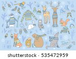 vector hand drawn cute forest... | Shutterstock .eps vector #535472959