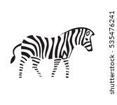 zebra silhouette on the white... | Shutterstock .eps vector #535476241