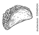 taco. mexican traditional food... | Shutterstock .eps vector #535485424