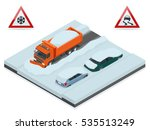 snow plough truck clearing road ... | Shutterstock .eps vector #535513249