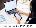 woman's hands using mobile... | Shutterstock . vector #535519339