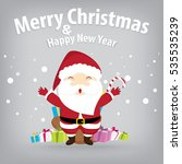 santa claus and snow theme ... | Shutterstock . vector #535535239