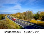 colorful trucks driving on the... | Shutterstock . vector #535549144