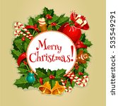 merry christmas round poster ... | Shutterstock . vector #535549291