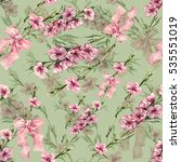 flowers peach with ribbon... | Shutterstock . vector #535551019