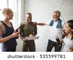 diversity people exercise class ... | Shutterstock . vector #535599781