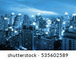 night cityscape and internet... | Shutterstock . vector #535602589