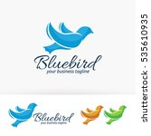 Blue Bird  Vector Logo Template