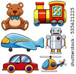 different types of cute toys... | Shutterstock .eps vector #535621225