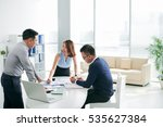 asian business partners working ... | Shutterstock . vector #535627384