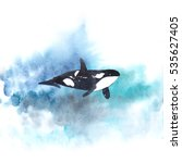 watercolor whale on blue... | Shutterstock . vector #535627405