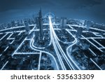 city scape and network... | Shutterstock . vector #535633309