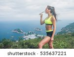 female athlete  drinking water  ... | Shutterstock . vector #535637221