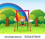 little boy playing on the swing ... | Shutterstock .eps vector #535637845