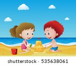 kids playing sand on the beach...   Shutterstock .eps vector #535638061