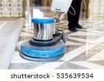 man polishing marble floor in... | Shutterstock . vector #535639534
