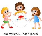 three girls playing jump rope | Shutterstock . vector #535648585