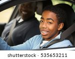 father instructing his son on... | Shutterstock . vector #535653211
