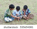 rural boy studying together | Shutterstock . vector #535654381