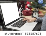 workplace with modern computer... | Shutterstock . vector #535657675