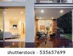 open sliding door with wooden... | Shutterstock . vector #535657699