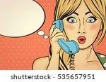 surprised pop art woman... | Shutterstock .eps vector #535657951