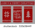 knitted happy new year greeting ... | Shutterstock .eps vector #535658449
