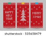 knitted happy new year greeting ... | Shutterstock .eps vector #535658479