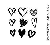 pattern of hearts vector sketch ... | Shutterstock .eps vector #535665739