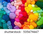 Stock photo colored balls of yarn view from above rainbow colors all colors yarn for knitting skeins of 535674667