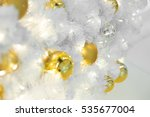 golden christmas balls on white ... | Shutterstock . vector #535677004