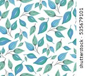 watercolor leaves pattern.... | Shutterstock . vector #535679101