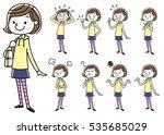 girls  set  variations | Shutterstock .eps vector #535685029