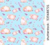watercolor lambs seamless... | Shutterstock . vector #535688731