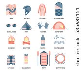 vector icon set for rafting and ... | Shutterstock .eps vector #535689151