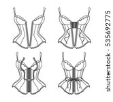 corset lacing thin line. how to ... | Shutterstock .eps vector #535692775