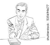 businessman finger pointing at... | Shutterstock . vector #535694677