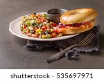 fast food. bagel with smoked... | Shutterstock . vector #535697971
