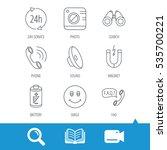 phone call  battery and faq... | Shutterstock .eps vector #535700221