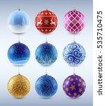 set of christmas toys  balls... | Shutterstock .eps vector #535710475