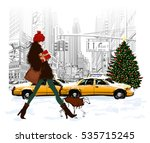 young fashionable woman... | Shutterstock .eps vector #535715245