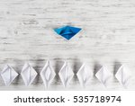 set of origami boats on wooden... | Shutterstock . vector #535718974
