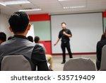 man presenting his idea to... | Shutterstock . vector #535719409