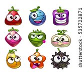 funny cartoon fruit and berry... | Shutterstock .eps vector #535722871