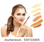 contouring.make up woman face....   Shutterstock . vector #535723405